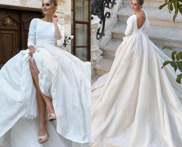Simple Ball Gown Wedding Dress Luxury 2018 New Simple Satin Ball Gown Wedding Dresses 34 Long Sleeves Backless Ball Gown Court Train Custom Made Bridal Gowns Bridal Gowns Brides Dress