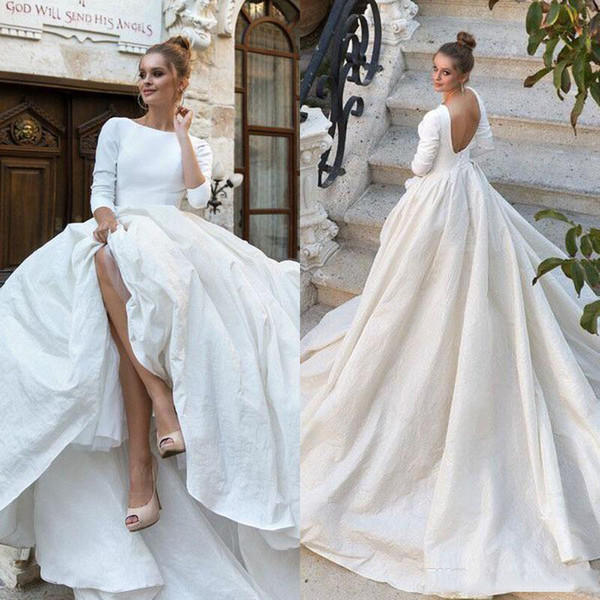 Simple Court Wedding Dresses New 2018 New Simple Satin Ball Gown Wedding Dresses 34 Long Sleeves Backless Ball Gown Court Train Custom Made Bridal Gowns Bridal Gowns Brides Dress