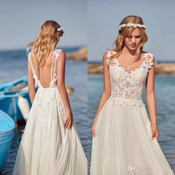 Simple Dresses to Wear to A Wedding New Discount Simple Design Bohemian A Line Beach Wedding Dresses 2019 V Neck Backless Lace Appliques Floor Length Customize Bridal Gowns Plus Size Line