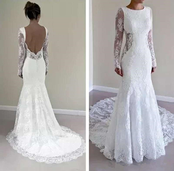Simple Mermaid Wedding Dresses Beautiful Simple Long Sleeve Lace Mermaid Wedding Dresses Backless Lace Applique Sweep Train Bridal Gowns Custom Made Long Wedding Gowns Affordable Dresses Ball