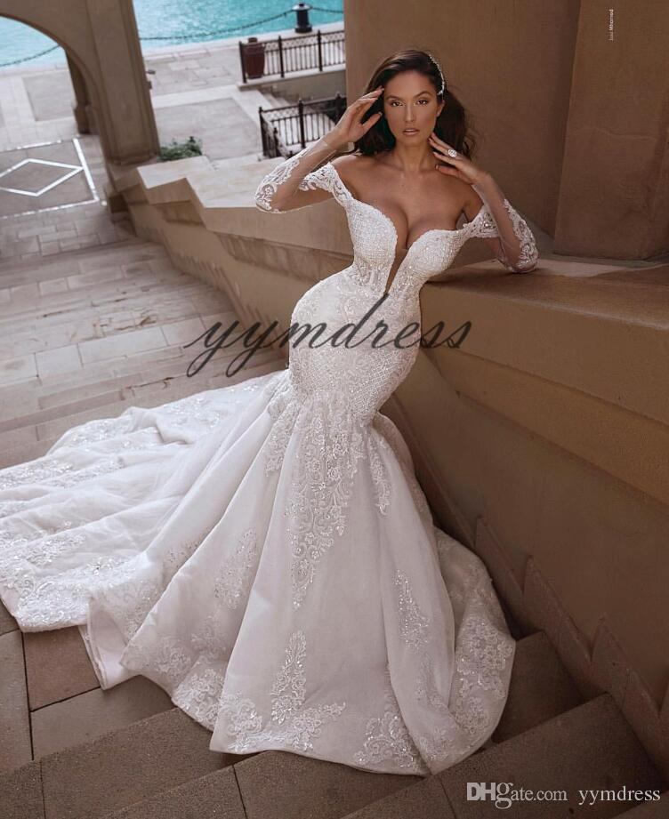 Simple Mermaid Wedding Dresses Lovely New Mermaid Wedding Dresses 2019 Long Sleeves Lace Appliques Sweep Train Custom Made Plus Size Bridal Gowns Robe De Mariee