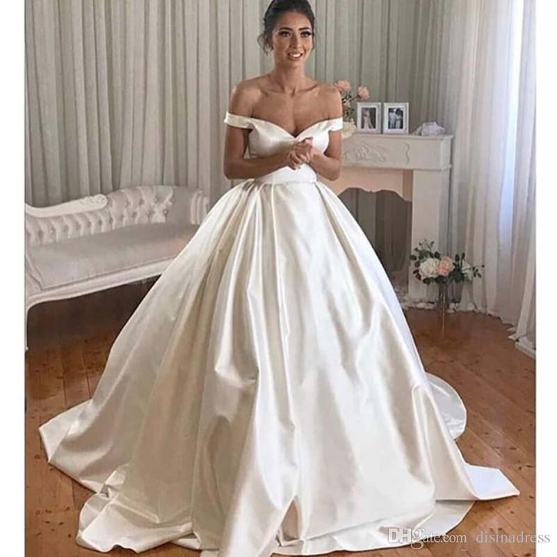 simple satin ball gown wedding dresses v