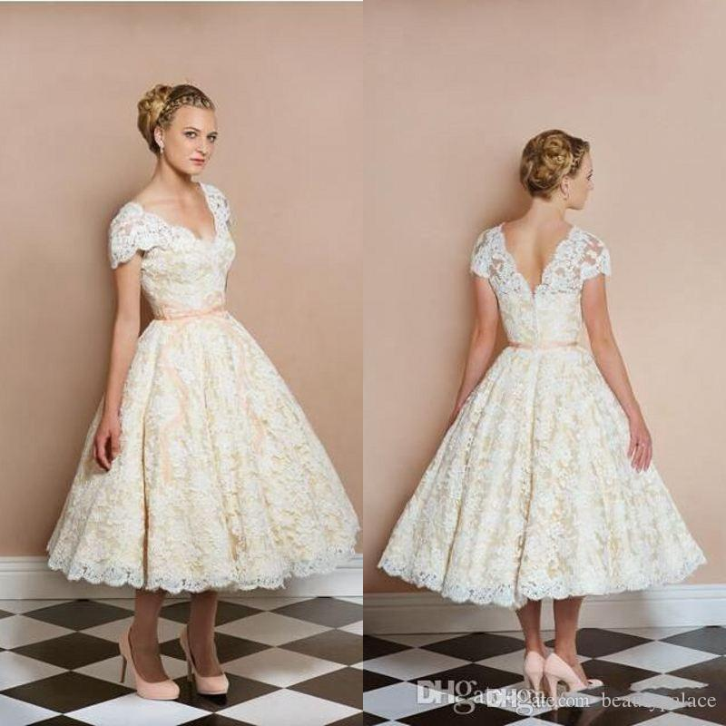 1950 039 s tea length vintage wedding dresses