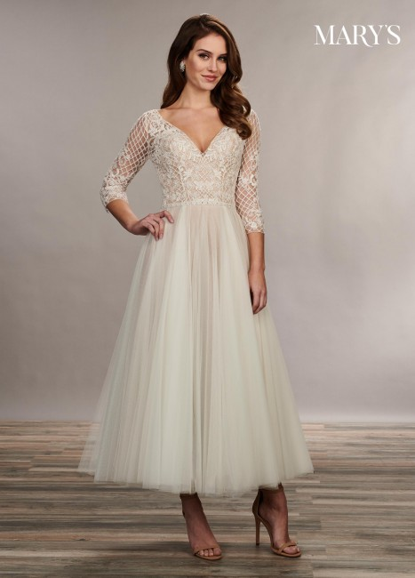 marys bridal mb3074 lace up back tea length bridal dress 01 677