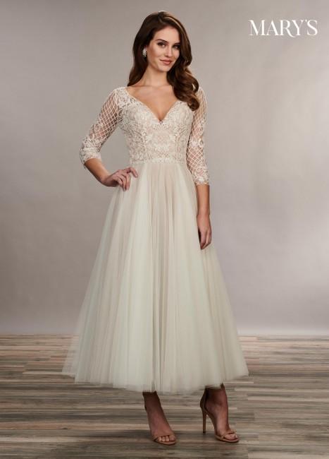 marys bridal mb3074 lace up back tea length bridal dress 01 677