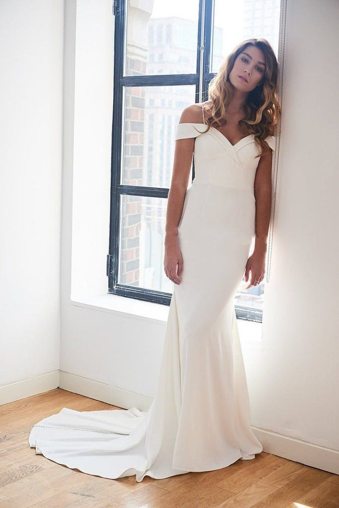Simple Wedding Dresses for Eloping Awesome F the Shoulder Spandex Simple Ivory Wedding Gown Vestido