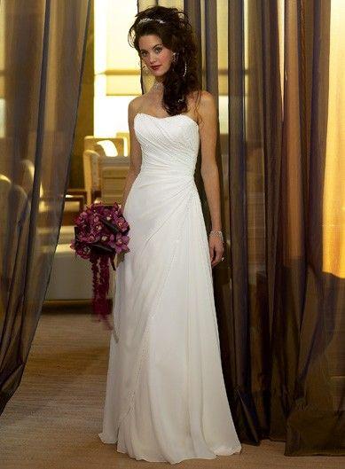 wedding gowns for beach weddings inspirational side draped strapless a line chiffon simple reception wedding dress