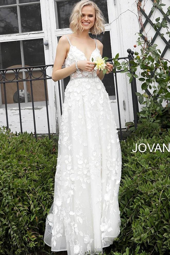 jovani jb floral embroidered simple wedding dress 01 688