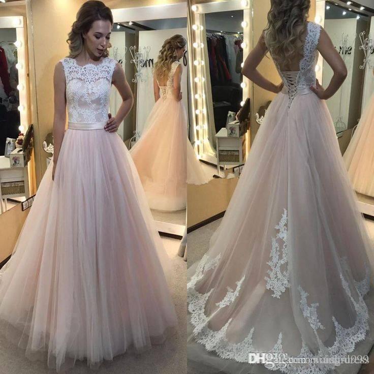 elegant blush wedding dresses lace top white