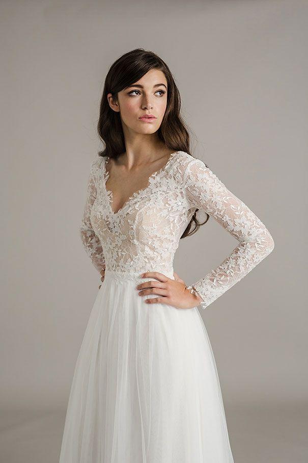 Simple Winter Wedding Dresses Luxury Long Sleeve Lace Wedding Dress I D O\