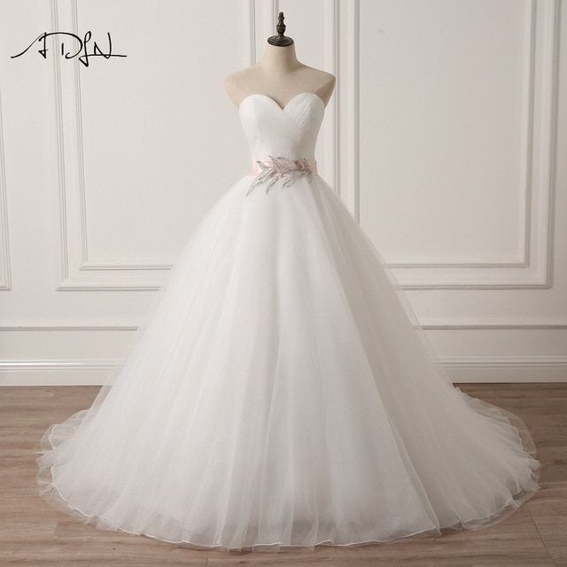 ADLN Sweetheart Sleeveless Puffy Wedding Dress with Pink Sash A line White Ivory Tulle Princess Bridal 640x640