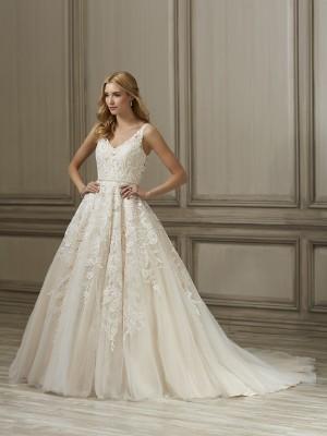 adrianna papell ember v neckline wedding gown 01 466