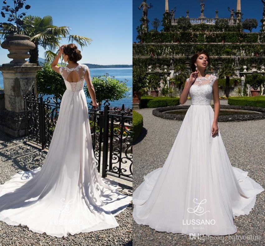 Size 6 Wedding Dress Elegant Summer Garden Beach Wedding Dresses A Line Sheer Neck Cap Sleeves Empire Waist Bridal Gowns Keyhole Backless Boho Robe De soriee