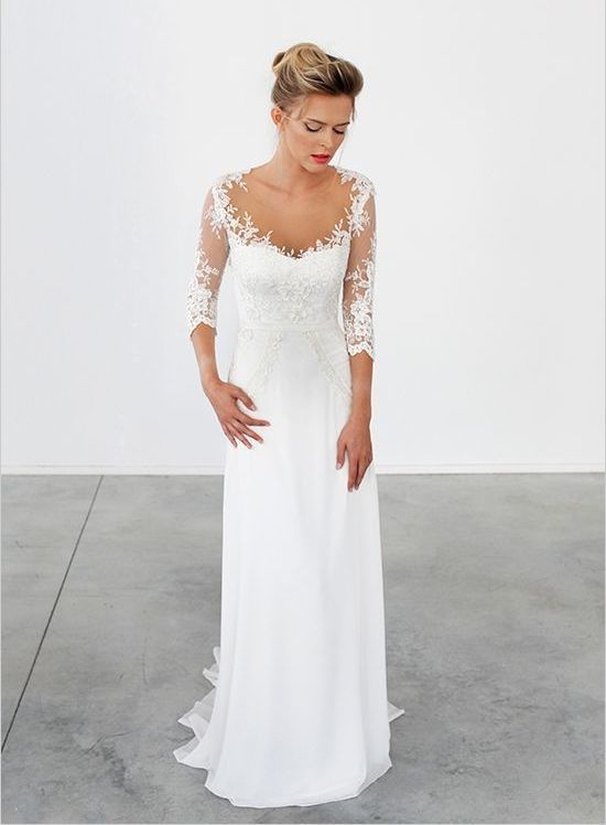 3 4 sleeve wedding dress elegant 10 illusion wedding dresses even the most traditional bride will