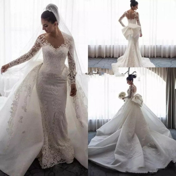 Slimming Wedding Dresses Beautiful Charming Plus Size Mermaid Wedding Dress with Removable Train Delicate Lace Applique Bow Bridal Gowns Long Sleeves Custom Made Wedding Dress Wedding