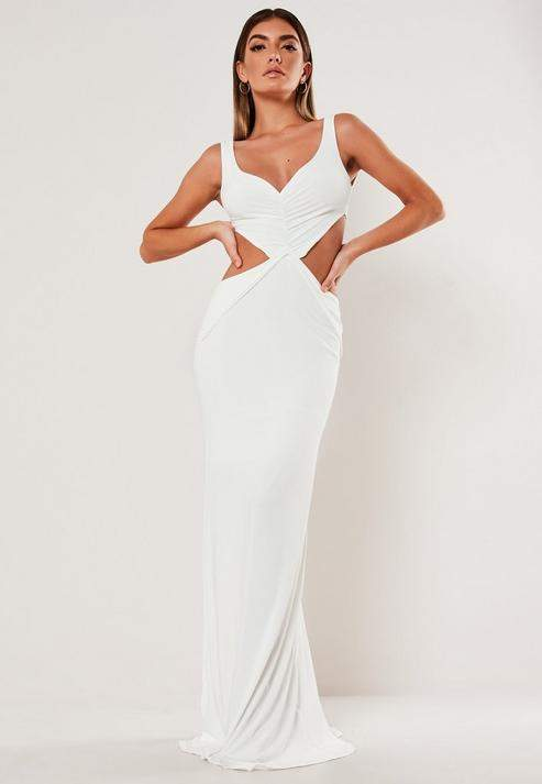 Missguided Cream Cut Out Side Slinky Maxi Dress