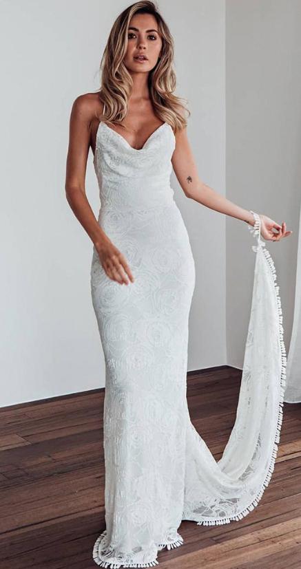 Slips for Wedding Dresses Beautiful Simply Elegant Mermaid White Lace Long Wedding Dress with