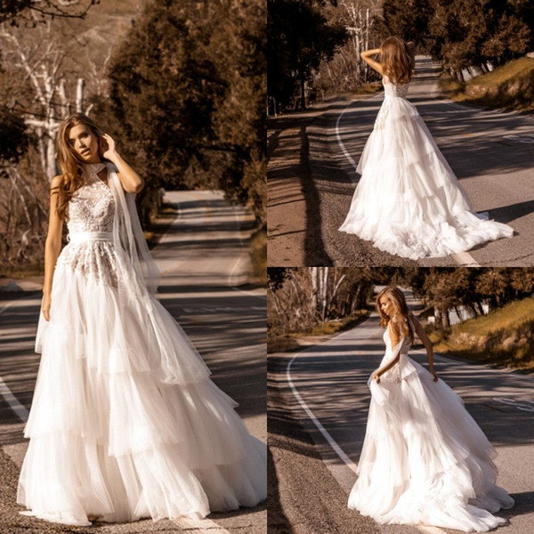 Sophisticated Wedding Dresses Beautiful Discount Crystal Design 2020 Wedding Dresses High Neck Lace Applique Tiered Ruffles Tulle Boho Bridal Gowns Sweep Train Country Plus Wedding Dress