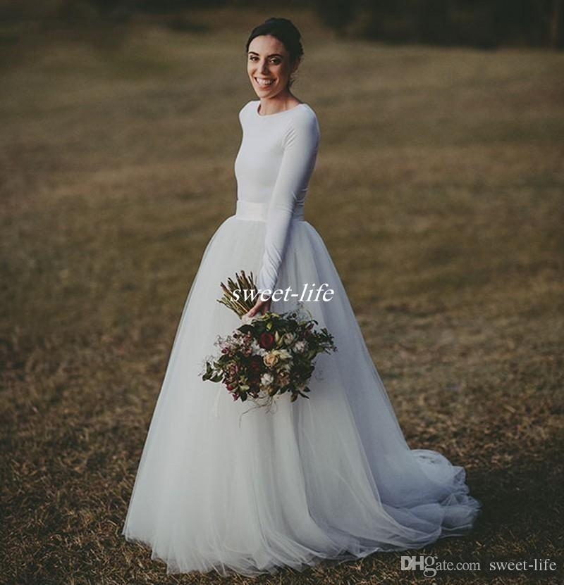 elegant long sleeve country wedding dresses