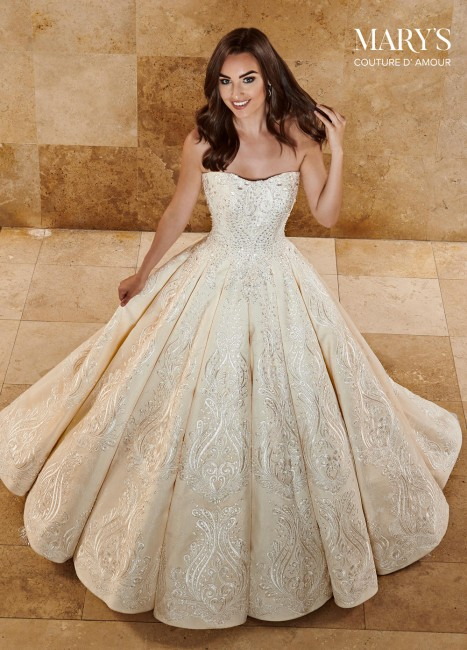 marys bridal mb4076 strapless lace bridal gown 01 677