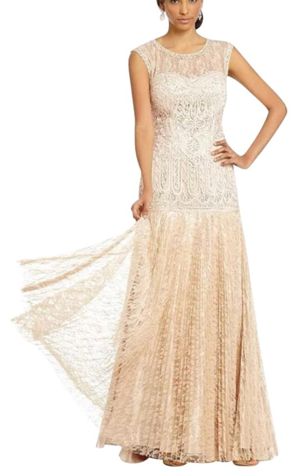 sue wong champagne soutache and lace illusion gown formal dress size 6 s 0 1 960 960