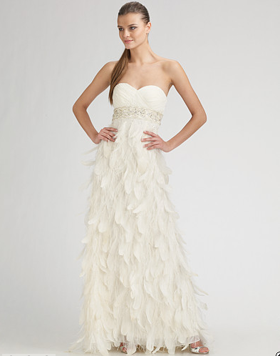 2011 0330 Sue Wong Feather Dress White