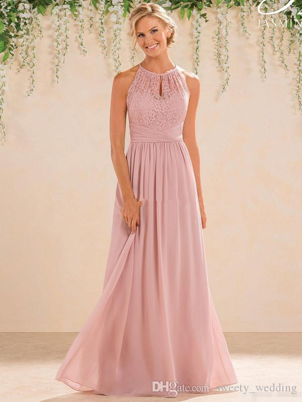 blush 2017 cheap a line lace chiffon bridesmaid