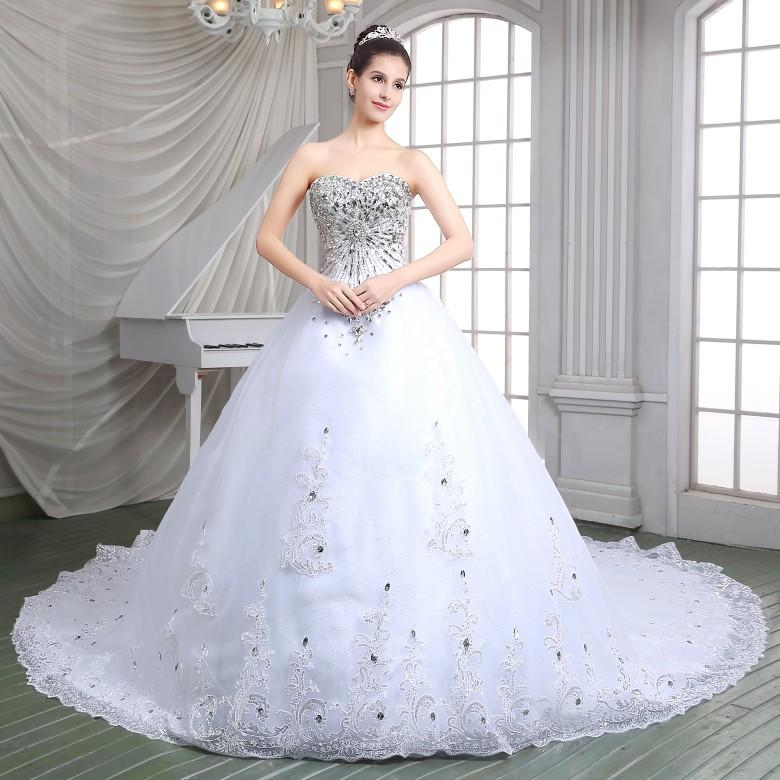 stock luxury crystal wedding dresses real