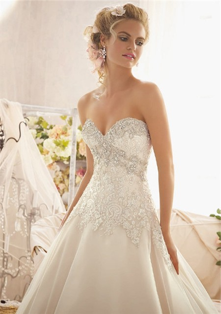 gorgeous ball gown sweetheart empire tulle lace crystal wedding dress with detachable straps 3