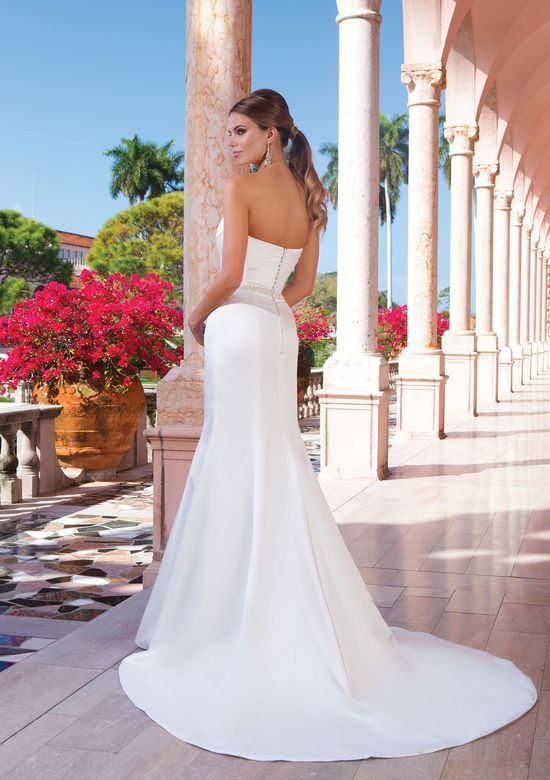 Sweetheart Neckline Wedding Dresses Luxury Style 6045 Satin Fit and Flare Dress Accented with A
