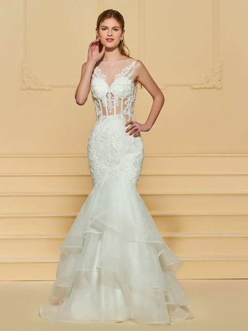 Tb Wedding Dresses Fresh Sheer Neck Appliques Beading Mermaid Wedding Dress In 2019
