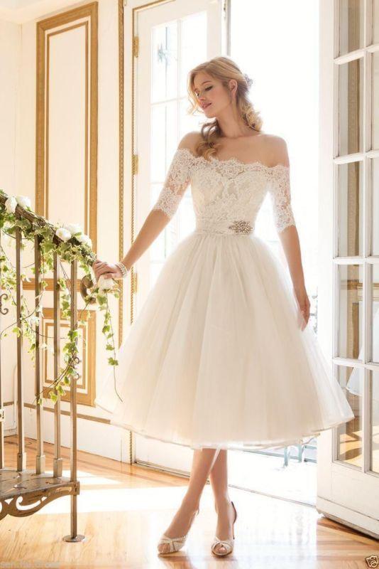 Tea Length Bridal Gown Inspirational New Tea Length F Shoulder Wedding Dress Bridal Gown Custom