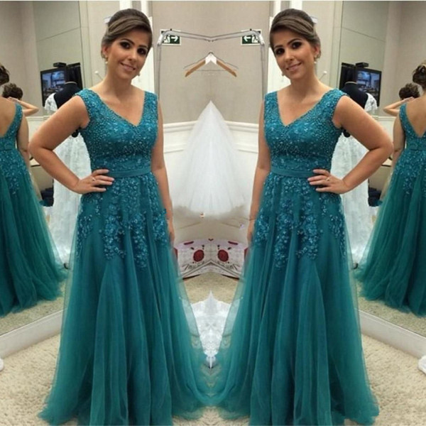 Teal Dresses for Wedding Luxury 2018 Teal Green Mother the Bride Dresses Elegant Beaded Tulle Wedding Guest Dress A Line formal Celebrity evening Gowns Inexpensive Mother the