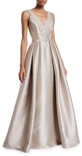 Theia Faille V Neck Ball Gown with Crystal Beading