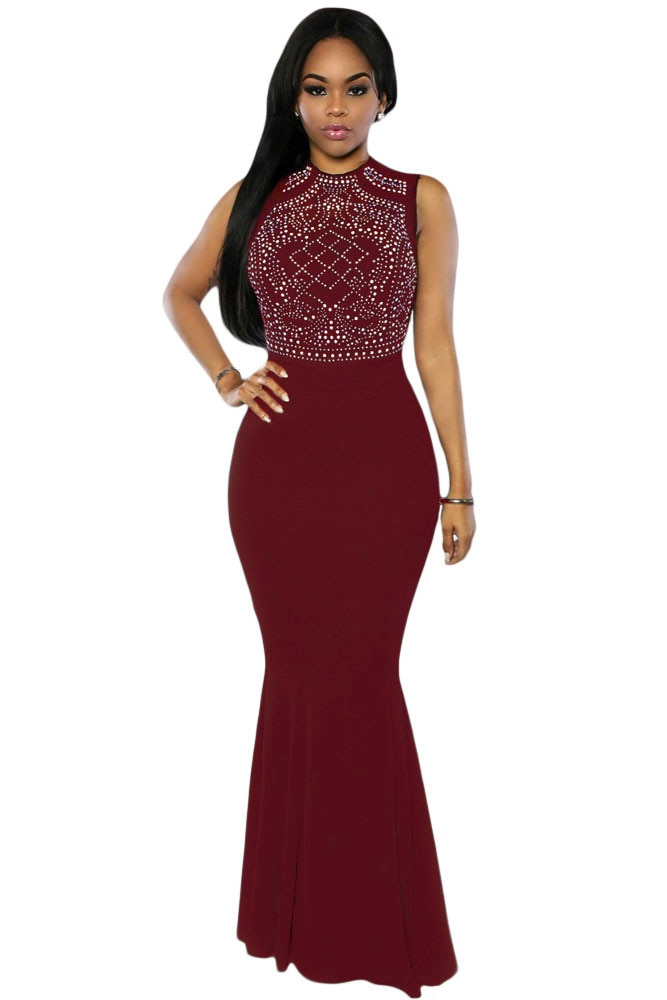 Robe Longue 2016 fashion formal dress y Turtleneck Shimmering Rhinestone Sleeveless Embellished Maxi Mermaid Dress
