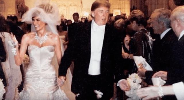 Melania Trump walking down the aisle with Donald Trump 640x349