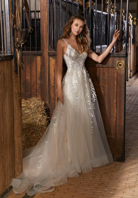 mori lee 6911 river tiered train wedding dress 01 649