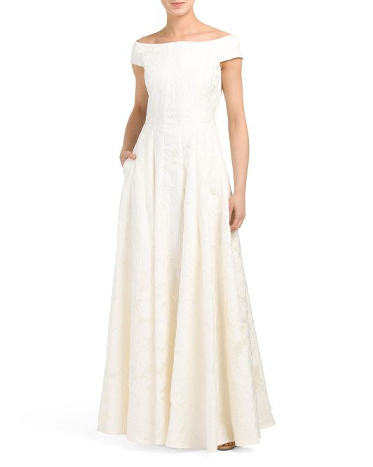 Tj Maxx Wedding Dresses Best Of F the Shoulder Brocade Gown In 2019