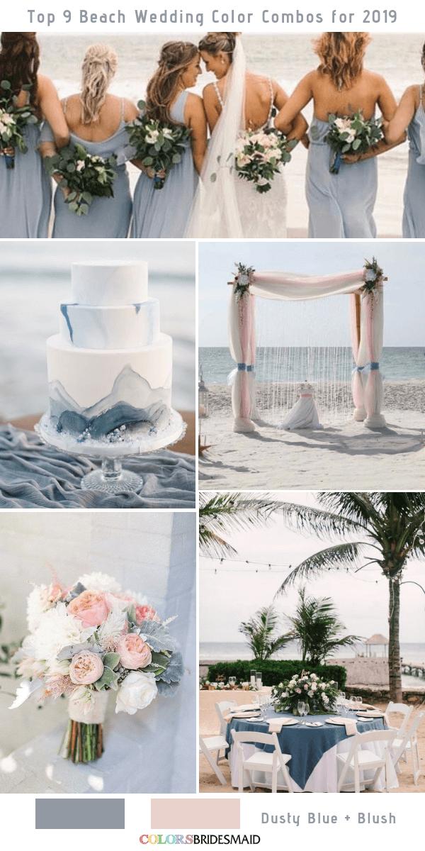 beach wedding color 2019 dusty blue blush