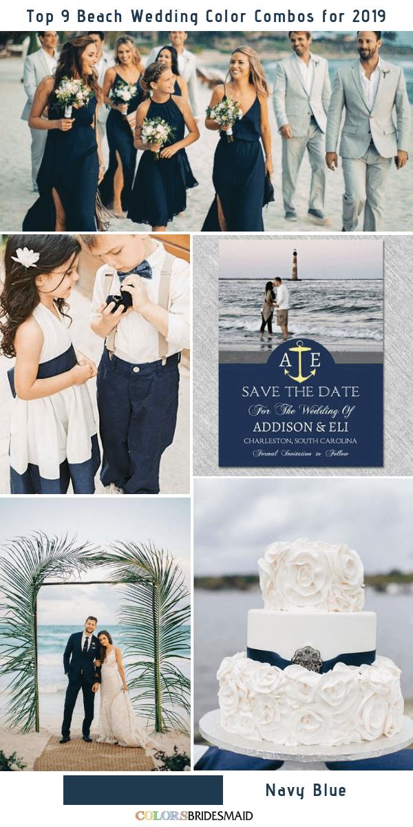 beach wedding color 2019 navy blue