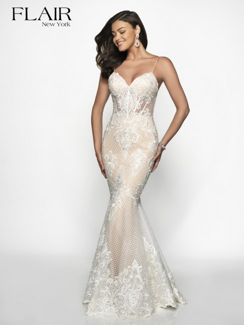 flair ny trumpet style lace formal dress 01 606
