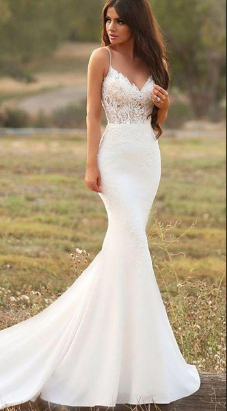 Trumpet Gown Lovely Y Mermaid White Wedding Dresses Spaghetti Straps Lace Satin Trumpet Garden Gowns Country Style Bridal Gowns Handmade Vestidos De Noiva Wedding
