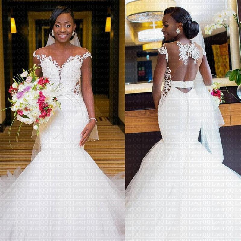 2019 New African Appliques Mermaid Wedding Dress y Sheer Back Bridal Gowns Vestido De Novia