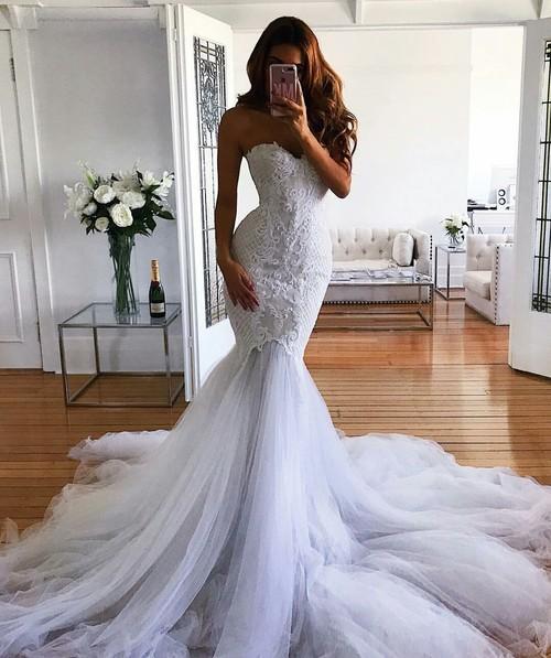 Trumpet Mermaid Wedding Dresses New Modest Mermaid Wedding Dress 2018 Latest Fashion Bridal Gowns Custom Made Vestidos De Novia Lace Sweetheart Tulle Trumpet Court Train Gown Wedding