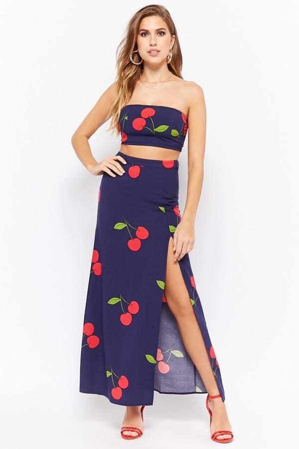 Forever 21 Cherry Print Maxi Skirt