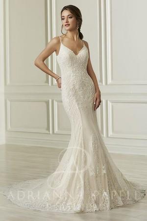 adrianna papell spaghetti strap wedding dress 01 545