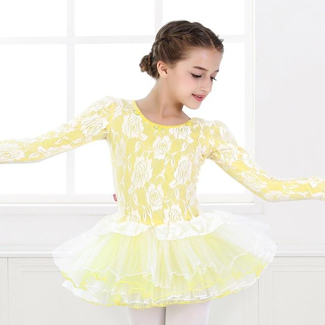 Ballerina dress rose lace ballet costumes girls long sleeve ballet dress tulle tutu leotard 640x640