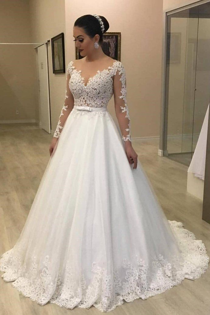 Tulle Wedding Gown Best Of 2019 的 Charming Long Sleeve Appliques Tulle Wedding Dress