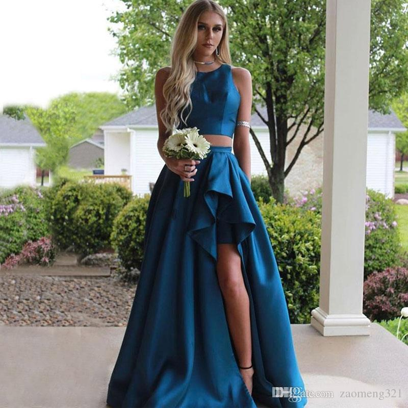 Two Piece Dresses for Wedding Awesome 2109 Cheap Two Pieces Country Bridesmaids Dresses Jewel Neck Split Side Wedding Guest Dress Satin Maid Honor Gowns