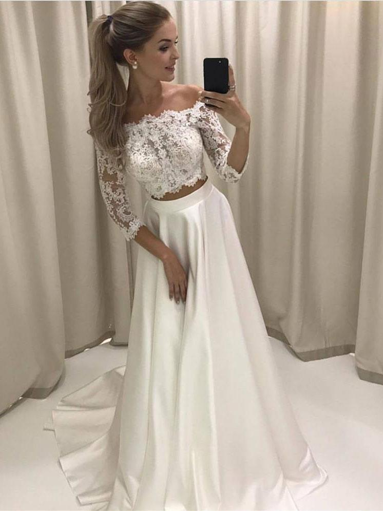 Two Piece Dresses for Wedding Beautiful Cheap Long Sleeves Y Two Pieces Wedding Dresses Line